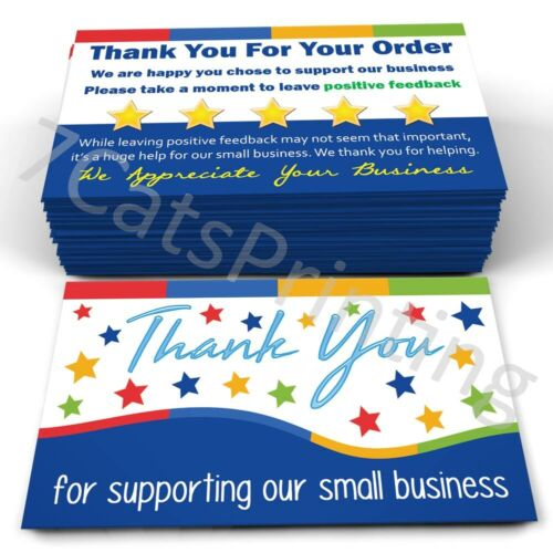 200 Support Small Business Thank You for Your Order Cards for Amazon & eBay
