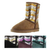 Lamo Women's Faux Sheepskin Sequin Winter Booties Boots