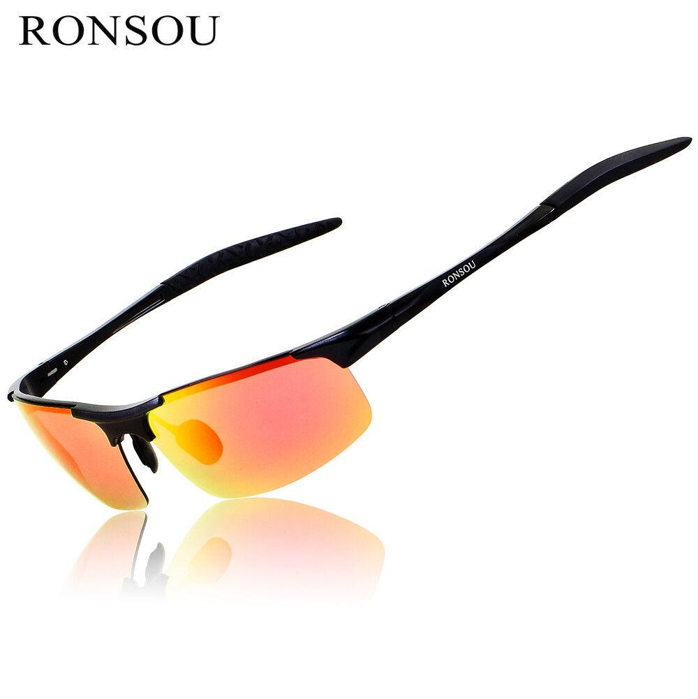 6dab2ddd93 RONSOU Men Sport Al-Mg Polarized Sunglasses Unbreakable For Driving Fishing  Golf