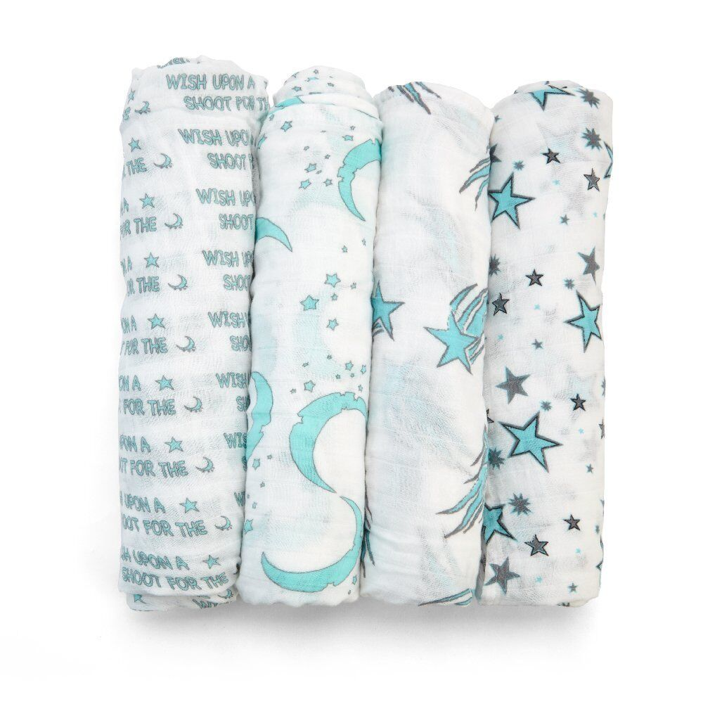 New 4 Pack Baby Swaddle Blanket Organic Cotton Muslin Silky