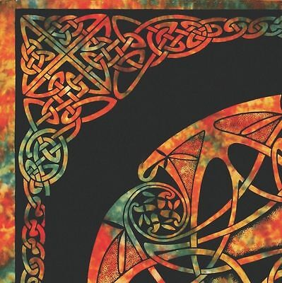 Handmade Celtic Wheel of Life Tie Dye Tapestry Tablecloth Spread Full 88x104 - Tie Dye Tablecloth
