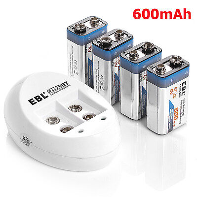 4x 600mAh 9V Lithium Ion Rechargeable Batteries + 9 VOLT Li-ion Battery Charger