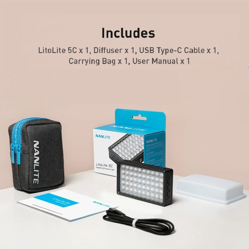 Nanlite LitoLite 5C CRI 95 Portable Pocket RGB LED Video Light 2700-7500K Type-C