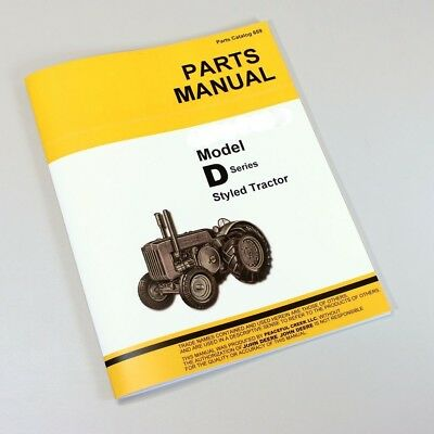 Parts Manual For John Deere D Styled Tractor Catalog Exploded Views Assembly