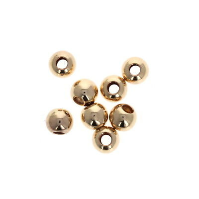 50 pcs - 5mm Gold Filled Large Hole Beads, 2mm Hole, Round Seamless Beads, 14KT