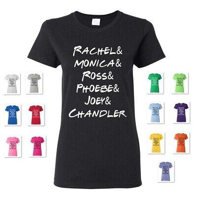 Friends Tv Show Cast - WOMEN'S FRIENDS TV SHOW CAST RACHEL MONICA ROSS PHOEBE JOEY CHANDLER TEE T-SHIRT