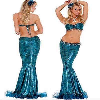 Sexy Blau Meerjungfrau Kostüm für Damen Erwachsene Halloween Party Cosplay Kleid