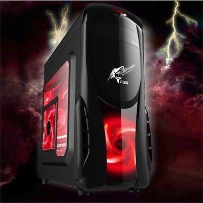 X5 PC Gaming Gehäuse Midi-Tower + Fenster +2x Roten LED Lüfter ATX mATX USB 3.0