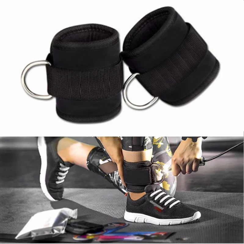 2x Resistance Band D-ring Ankle Strap Leg Power Training Gym