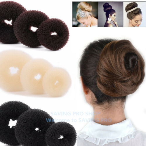 3 Pcs Hair Donut Bun Maker Ring French Roll Brown, Black and Blond S M L