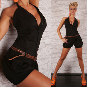 SEXY-SHORTS-HOT-PANTS-JUMPSUIT-BLACK-PLAYSUIT-WITH-BELT-SIZE-8-12