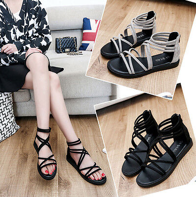 Women Flat Shoes Bandage Bohemia Sandals Peep-Toe Outdoor Comfort Shoes lt