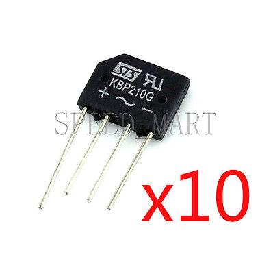10 Pcs Kbp210 Bridge Rectifier Gleichrichter 1000v Ac Change Dc 2a Kbp-210