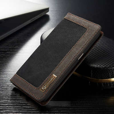 Canvas Leather Wallet Flip Case Phone Cover For Samsung Galaxy J6 S8 S9 Plus S10