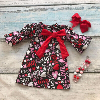 US Toddler Kid Baby Girls Valentine Day Love Printed Party Pageant Dress - Girls Valentine Dresses