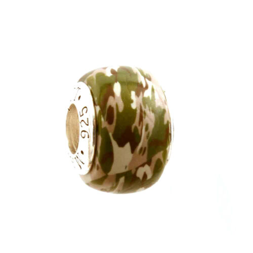 Army Deployment Camo Camouflage Bead Charm for Add-a-Bead Bracelet by MAYselect