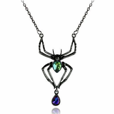 Gothic black spider pendant necklace ()