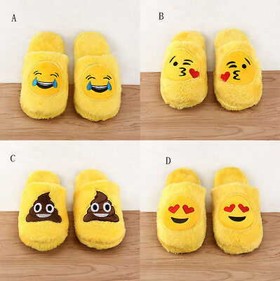 Unisex Emoji Cute Cartoon Slippers Warm Cozy Soft Stuffed Household Shoes