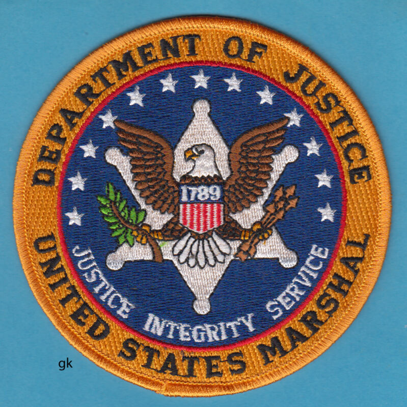 "DEPARTMENT OF JUSTICE UNITES STATES MARSHAL SHOULDER PATCH (4 1/2"") Blue center"