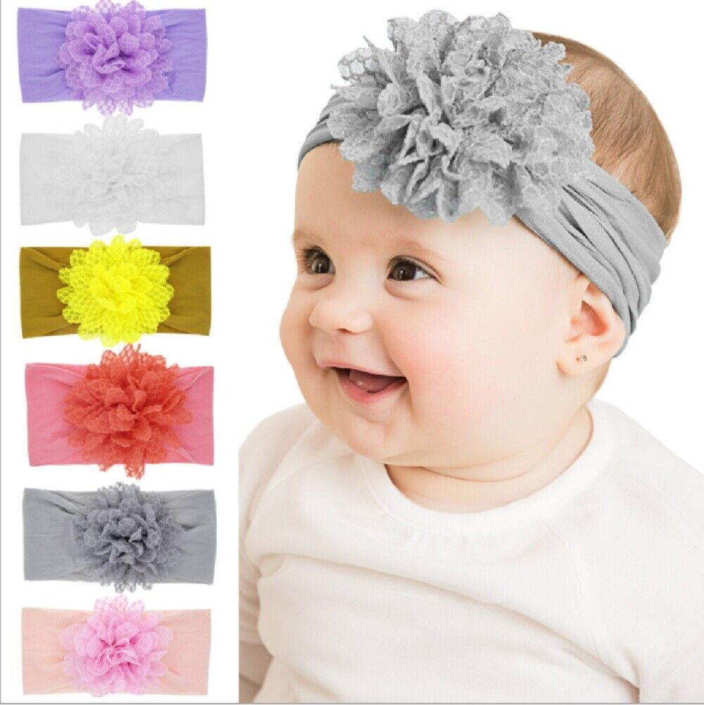 6 Pcs Kids Girl Baby Headband Toddler Lace Bow Flower Hair Band Accessories US Baby