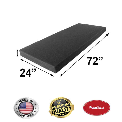 """24"""" X 72"""" Charcoal High Density Upholstery Foam Cushion Made In Usa"""