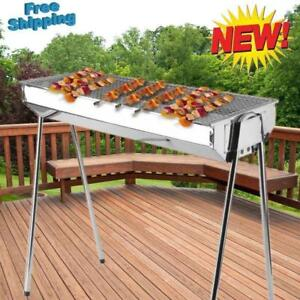 Foldable Shish Kabob Barbecue Charcoal Grill BBQ Kabab Shashlyk Stainless Steel - FREE SHIPPING
