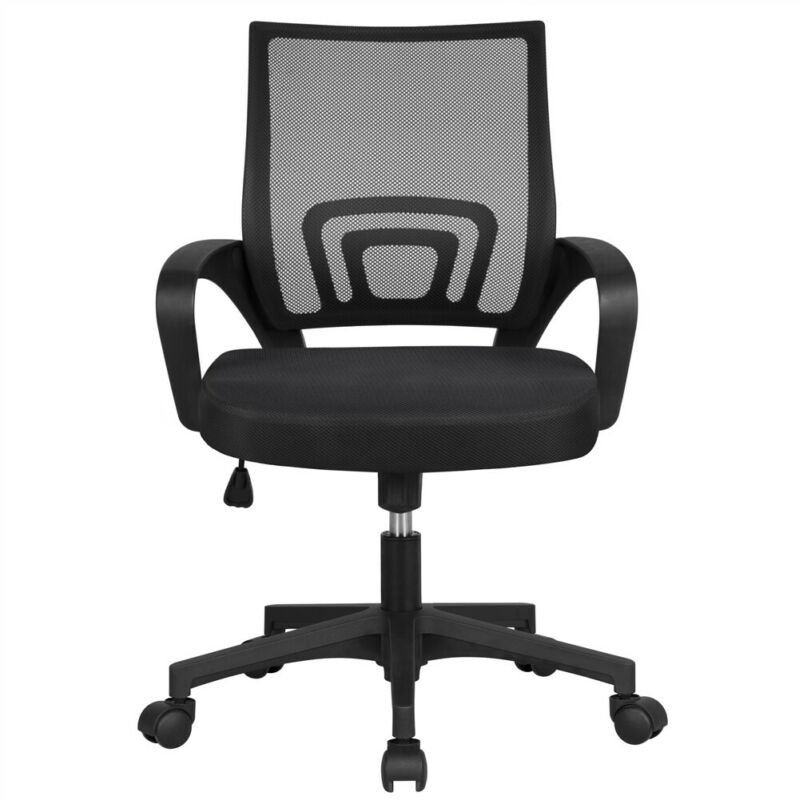 Ergonomic Mesh Office Chair Mid-Back Height Adjustable Computer Chair Black
