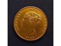 1853 Victoria Shield HALF Gold Sovereign Coin 22 ct solid gold