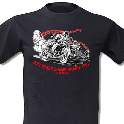 Dirt Track Racing T-shirts (Vintage Dirt Track Racing T-Shirt Hot Rod Motorcycle Motorrad Speed Shop V8 Old)