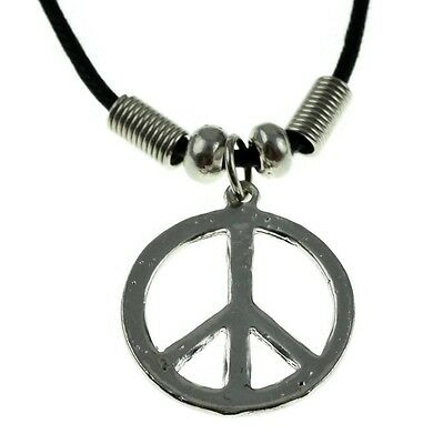 "Peace Symbol Love Sign Round Silver Tone Pendant 18"" Black Cord Chocker Necklace"