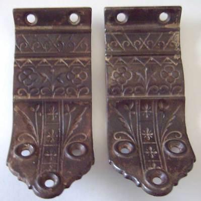 Antique Ornate Victorian Stair Handrail Brackets - Sargent - c.1880 - Cast Iron