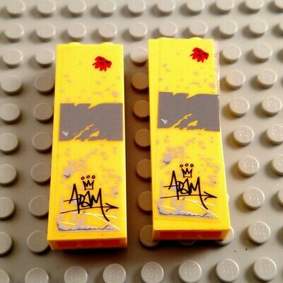 LEGO Lot of 2 Yellow 1x2x5 Bricks with Grafitti Stickers