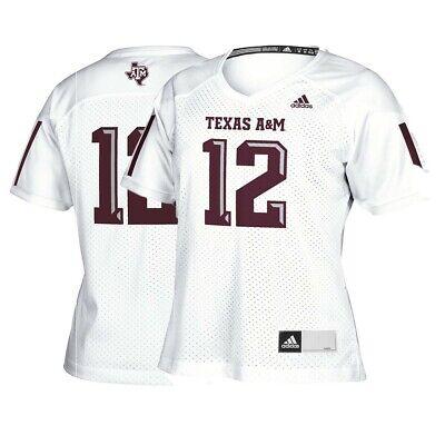 Texas A&M Aggies #12 NCAA Adidas Women's White Official Football Replica Jersey 12' Official Replica Football