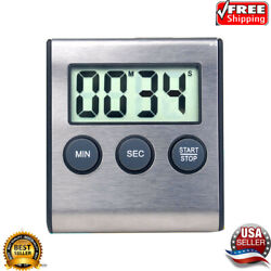 LCD Digital Alarm Count-Down/Up Big for Kitchen Cook Clock Timer Magnet Loud USA