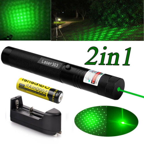 20Miles 532nm 1mw Green Laser Pointer Lazer Pen Visible Beam Light+18650+Charger