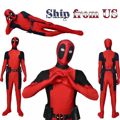 Avengers Halloween Lycra Spandex Full Body Deadpool Adult Cosplay Costume S:M/L