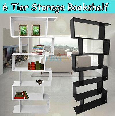 Display Shelf Storage Bookshelf 6 Level Tier Ladder Wall Bookcase Stand Rack US ()