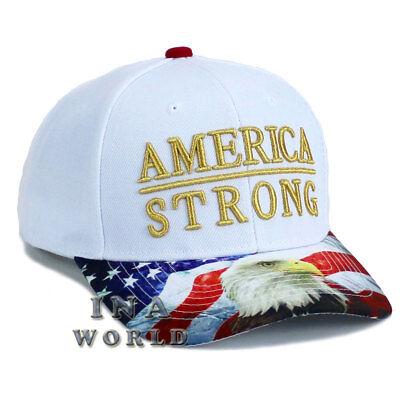 USA American Flag hat AMERICA STRONG Snapback Eagle Flag bill Baseball cap-White