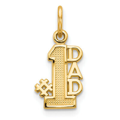 "14K Yellow Gold Vertical""#1 Dad"" Charm Pendant MSRP $107"