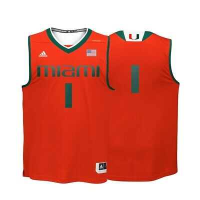 Miami Hurricanes NCAA Adidas #1 Orange Replica Basketball Jersey 1 Orange Replica Basketball Jersey