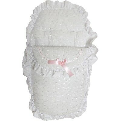 Pretty Romany Style Pink Ribbon And White Broderie Anglaise Footmuff Cosy Toes