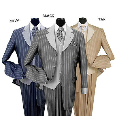 Men's 3 piece Luxurious Classic Gangster Pinstripe Wool Feel Suit  sty-2911V (Gangster Suits)