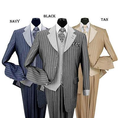 Men's 3 piece Luxurious Classic Gangster Pinstripe Wool Feel Suit  sty-2911V