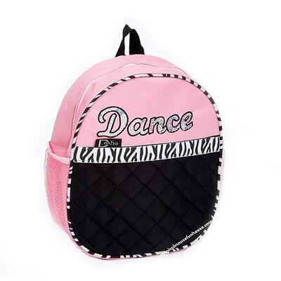 Dasha Dance Girls Pink Zebra Stripe Backpack Bag
