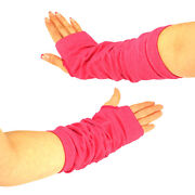 Pink Fingerless Long Gloves