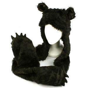 Winter-Faux-Fake-Fuzzy-Animal-Fur-Scarf-Trapper-Hat-w-Paw-Gloves-Mittens-Black