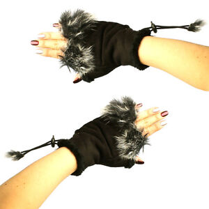 Winter Soft Fuzzy Furry Real Fur Trim Fingerless Half Cuff Off Gloves Black S/M
