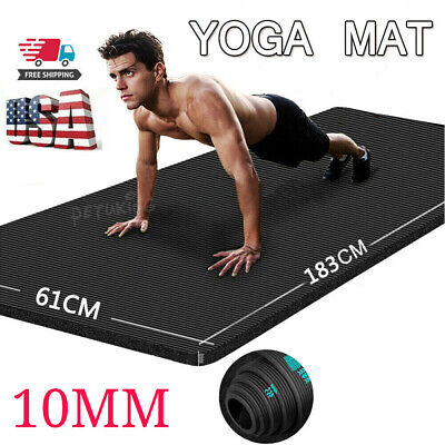 Yoga Mat 10mm Thick Gym Exercise Fitness Pilates Workout Pad Non Slip Large NBR