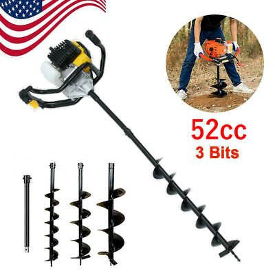 52cc Earth Auger Gas Powered One Man Post Hole Digger Machine 3 Bits Usa