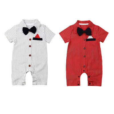 US Baby Boy Wedding Christening Formal Romper Bodysuit Jumpsuit Clothes Newborn